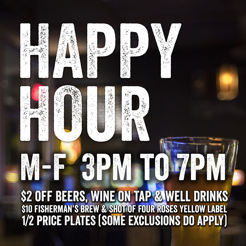 Barcade® Newark HappyHour M-F 3pm to 7pm $2 off Beers, Wine on Tap & well drinks | Fisherman's Brew & Shot of Four Roses Yellow Label – $10 | 1/2 price Plates (some exclusions do apply)