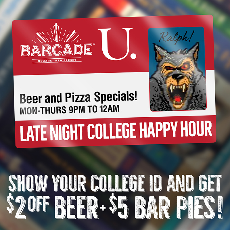 Every Monday to Thursday, we're offering a Late Night College Happy Hour from 9PM-12AM! Just bring in any valid college ID and get $2 off any beer, or pay just $5 for a bar pie! | Must be 21 or over to enter