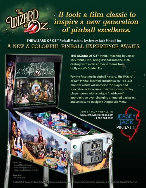 Wizard of Oz (pinball) — 2013 at Barcade® in Newark, NJ | arcade game flyer graphic