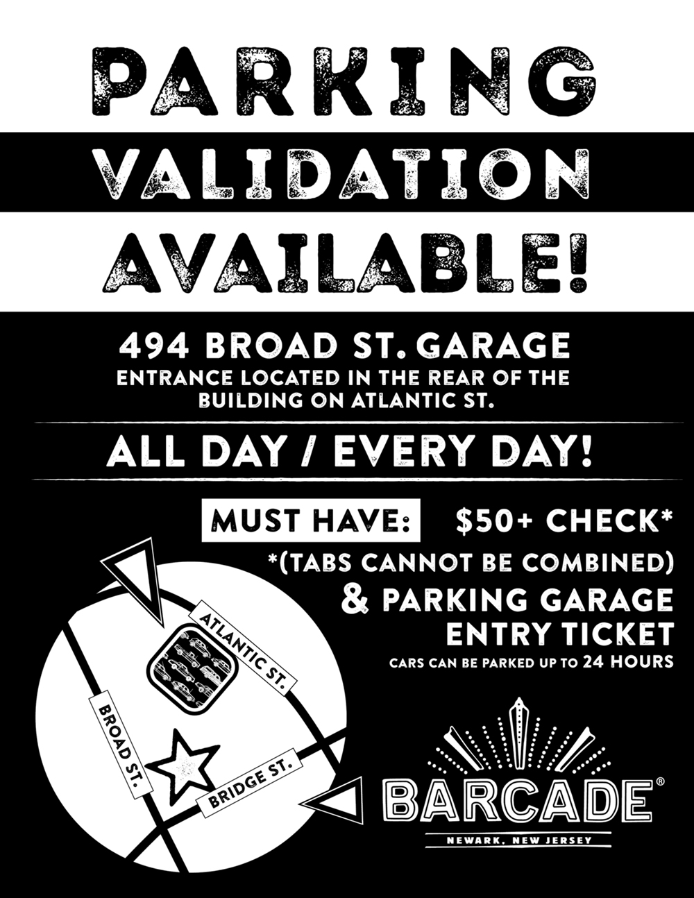 Barcade® - Newark - Parking Validation at 494 Broad Street Garage ALL DAY, EVERY DAY