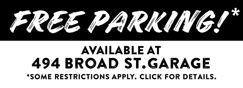 Barcade® Newark Parking Validation Available FREE PARKING!* Available At 494 Broad st. Garage Entrance Located in the rear of the building on Atlantic st. MON-FRI AFTER 5:30PM ** SAT-SUN ANYTIME *Must have: $25+ check & parking garage entry ticket. **parking entry ticket must be time stamped after 5:30pm
