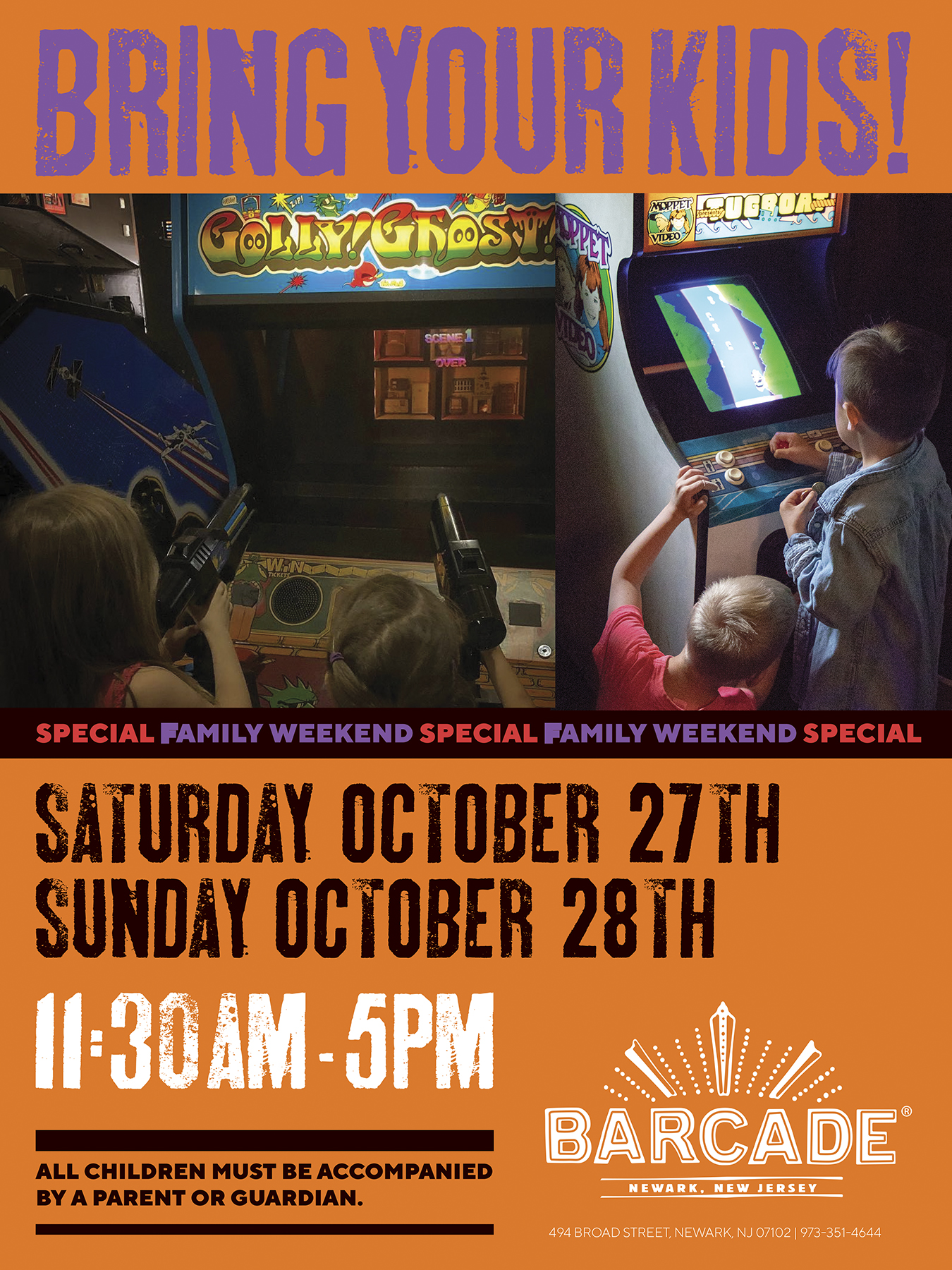 Barcade® Family Weekend 11:30AM to 5PM — October 27th and 28th, 2018 in Newark, NJ only