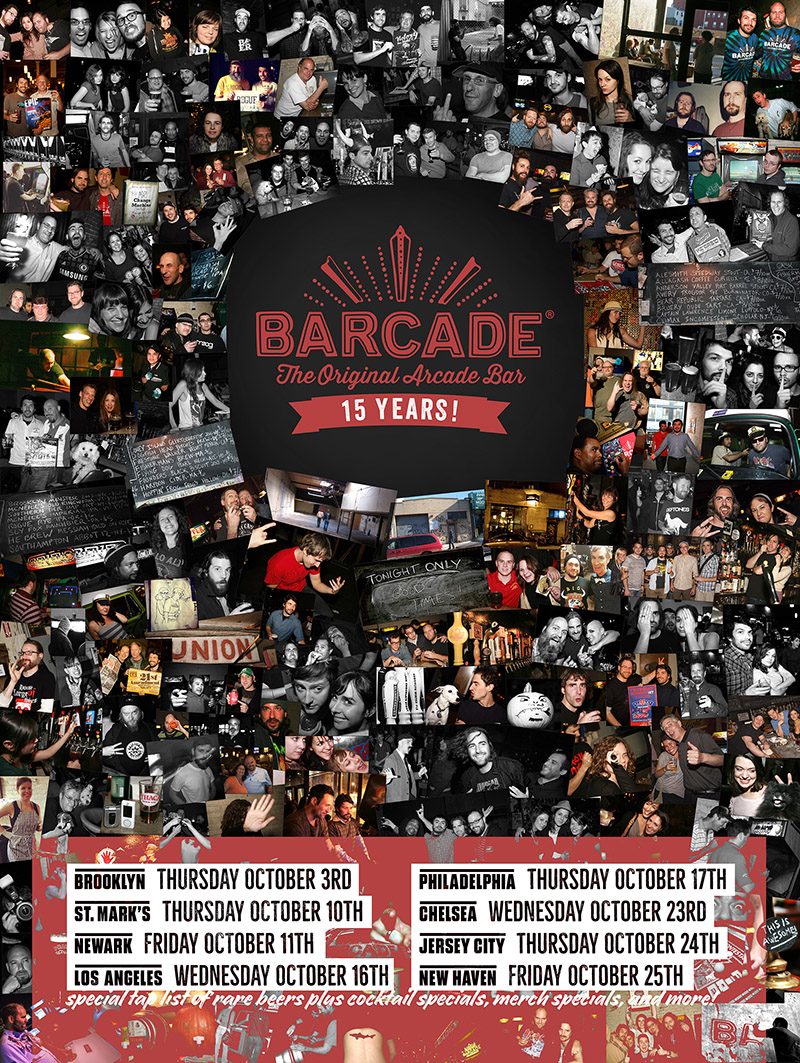 Barcade 15th Anniversary Celebration — October 11, 2019 at Barcade® in Newark, New Jersey