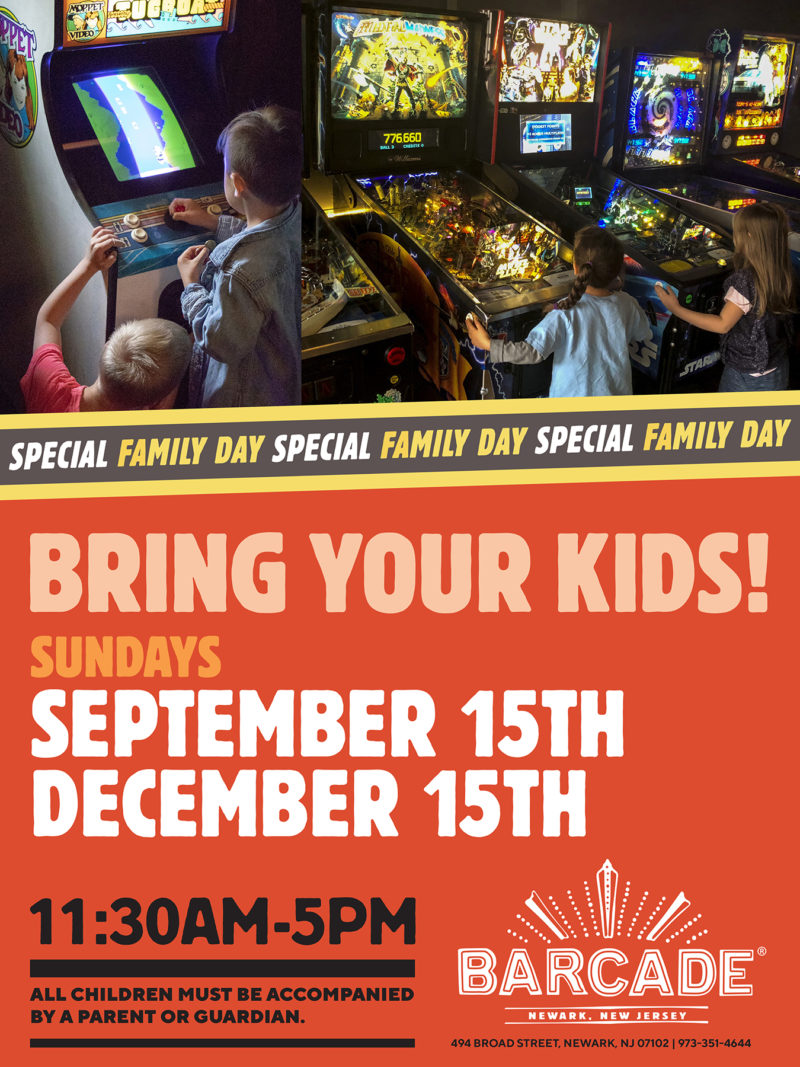 Barcade® Family Day— September 15th & December 15th from 11:30AM to 5PM in Newark, NJ only