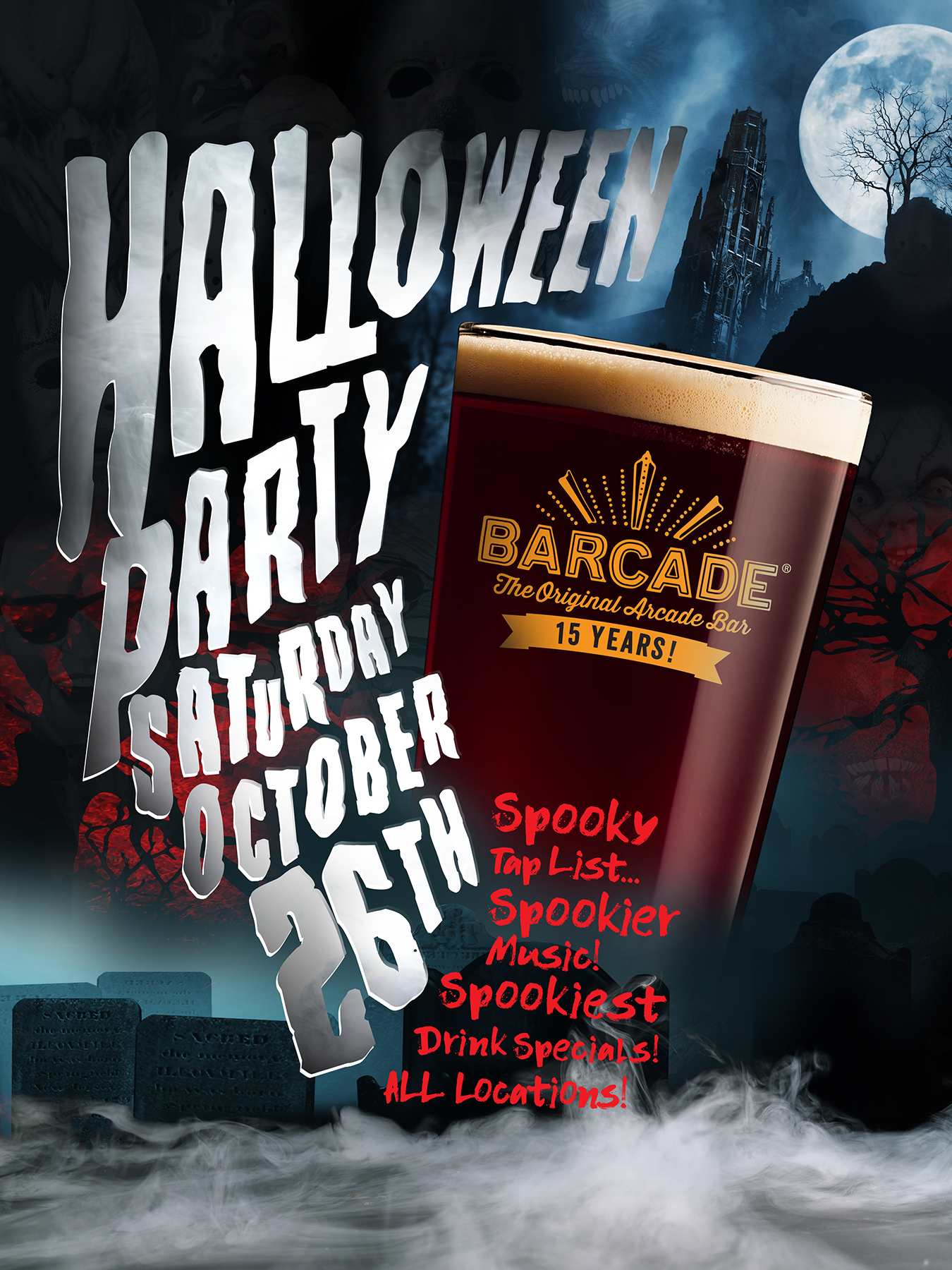Halloween Party at Barcade on Saturday, October 26th in Newark, NJ.