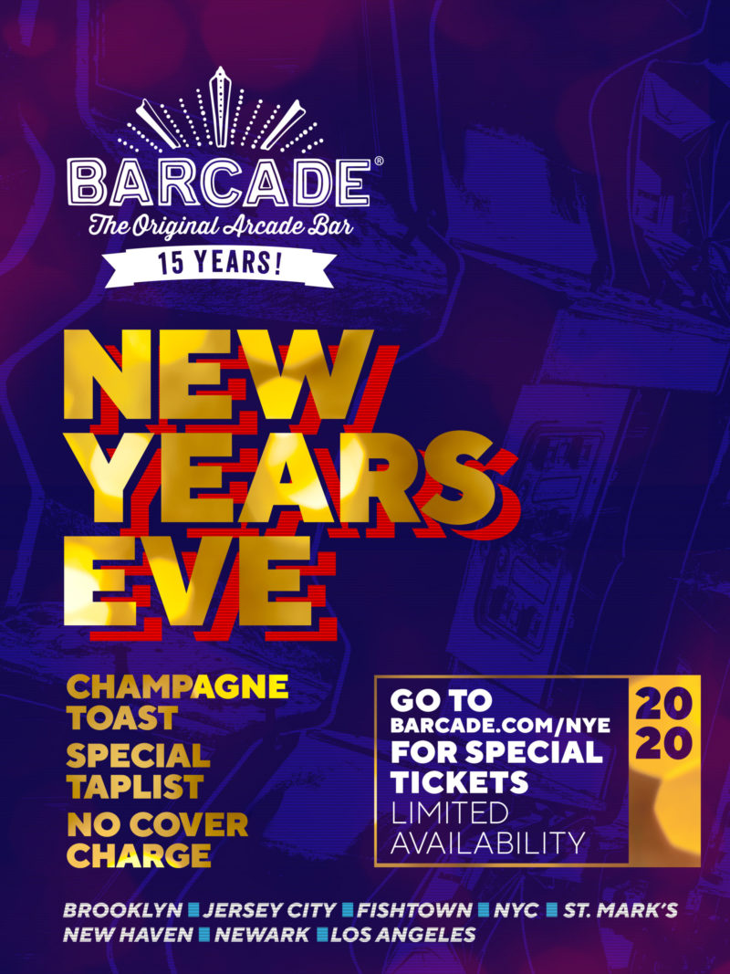 New Years Eve at Barcade on Tuesday, December 31st 2019 in Newark, NJ